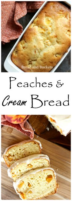 This reminds me of a dearly missed friend of mine! ~ Peaches and Cream Bread is a deliciously baked quick bread. It is incredibly moist and the fresh peaches with the sweet cream icing make it summer perfect. Bread Machine Recipes, Bread Recipes, Baking Recipes, Dessert Recipes, Cleaning Recipes, Weight Watcher Desserts, Low Carb Dessert, Dessert Bread, Bread Cake