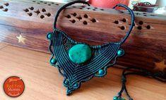 Chrysocolla Macrame Necklace Macrame Stone Hippie by RedFoxStories
