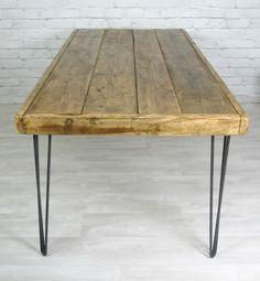 Hairpin Leg Vintage Industrial Dining Table - 190 x 90cm - Mustard Vintage