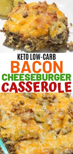 Easy bacon cheeseburger casserole that is keto and low carb. This recipe uses ground beef and is great for dinner! Easy bacon cheeseburger casserole that is keto and low carb. This recipe uses ground beef and is great for dinner! Low Carb Dinner Recipes, Keto Dinner, Breakfast Recipes, Dinner Healthy, Easy Low Carb Recipes, Breakfast Hash, Protein Recipes, Diet Breakfast, Recipes With Bacon Dinner