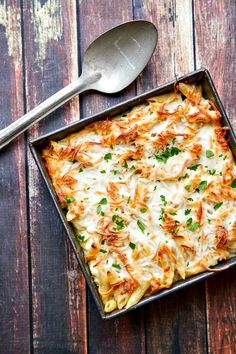 You already know that Alfredo sauce is creamy, cheesy and rich. Try it in this luscious Chicken Alfredo Pasta Bake for a delicious meal!