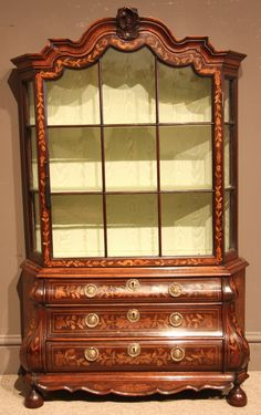 Late 18th century Dutch Walnut and Marquetry Display Cabinet