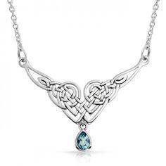 Celtic Knot Teardrop Blue Topaz 925 Silver Pendant Necklace  #Fashion, #Jewelry, #JewelryNecklacesPendants, #OverstockJeweler