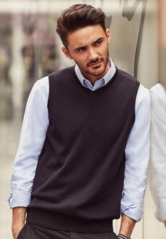 Mens Russell Shirt-Sleeveless V-Neck Knitted Pullover, Contemporary Sweater Vest, Jackets, Tops, Dresses, Fashion, Down Jackets, Vestidos, Moda, Fashion Styles