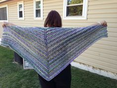 Shawl in shades of green purple and yellow by 1finedesign on Etsy, $40.00