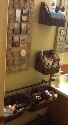 Magnetic makeup board and bathroom storage baskets.....Finally something I made from Pinterest!