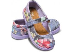 Lilac Faded Tropical Tiny Mary Janes | TOMS.ca