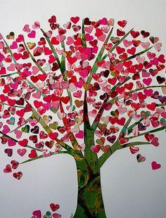 fun fabric heart tree