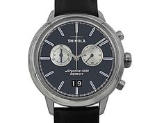 35e91abbb Shinola Bedrock Chronograph 42MM Steel Watch, with a Black Dial, Black  Leather Strap and Quartz Movement