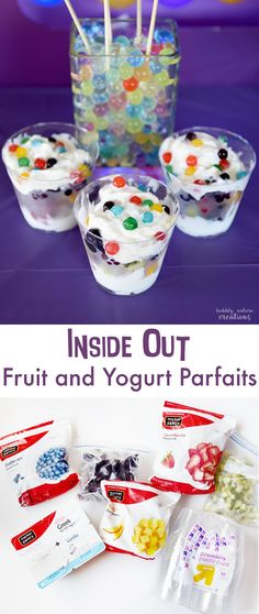 Inside Out Fruit and Yogurt Parfaits! Such a delicious treat for an Inside Out Movie Party! copy