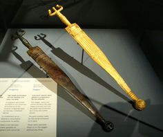 Celtic dagger with gold foil, found in Hochdorf Chieftain's Grave, Germany. Dates to about 530 BC. Currently located at the Historical Museum of Bern, Switzerland.