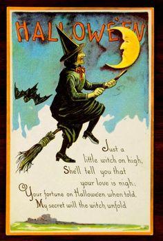 WITCH ON HIGH BROOM BAT MAN IN MOON Fantasy HALLOWEEN Postcard rare Nash H-46