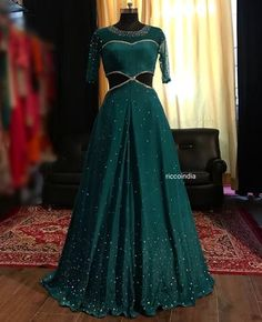 Ricco is a clothing and jewelry online and offline store. Ricco is a clothing and jewelry online and Indian Wedding Gowns, Indian Gowns Dresses, Indian Bridal Outfits, Bridal Dresses, Long Gown Dress, Lehnga Dress, The Dress, Sharara Suit, Long Gowns