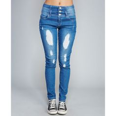 Retro High-Waisted Destroyed Jeans ($20) ❤ liked on Polyvore