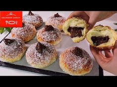 1 BARDAK SÜTLE 📢Böyle KABARAN❗ Şekli MÜTHİŞ PAMUK POĞAÇA, ÇÖREK Görmedim💣PARMAKLARA DİKKAT! KOLAY - YouTube Nutella, Baked Donuts, Doughnuts, Bread And Pastries, Strudel, Greek Recipes, Four, Fritters, No Bake Cake
