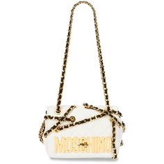 Moschino Chains Quilted Medium Shoulder Bag (6,760 SAR) ❤ liked on Polyvore featuring bags, handbags, shoulder bags, white shoulder bag, woven purse, white purse, chain shoulder bag and moschino handbag