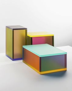 Raw Color's latest project, a series ofacrylicboxes whose multicolored planes intersect and blend into one other, is one of their best to date.