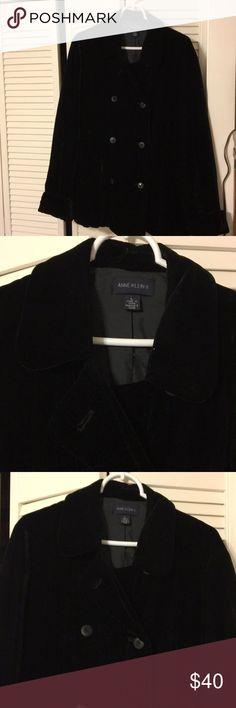"Black Velvet  jacket. Black Velvet double breasted, pea coat style jacket approximately 30"", hits below the hip by Anne Klein II Anne Klein II Jackets & Coats Pea Coats"