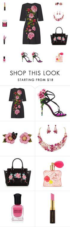 """Contest: Black & Pink Roses Outfit"" by billsacred ❤ liked on Polyvore featuring Dolce&Gabbana, Les Néréides, Victoria's Secret, L'Oréal Paris, Deborah Lippmann, Kevyn Aucoin and Bobbi Brown Cosmetics"