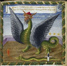 Detail of a miniature of a human-headed satanic dragon, representing the papacy of Urban VI whose election was contested and resulted in the appointment of the anti-pope Clement VII, from Joachim de Fiore's Vaticinia de Pontificibus, Italy (Florence), 2nd quarter of the 15th century, Harley MS 1340, f. 8r