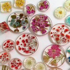 Resin, pressed flowers, earrings