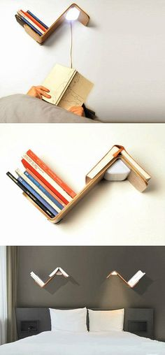 Set of bookshelves, bookmarks, table lamp as a whole, very creative design!