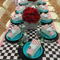 Pinklady Events 's Birthday / Sock Hop - Photo Gallery at Catch My Party 50s Theme Parties, Vintage Birthday Parties, Retro Birthday, 50th Birthday Party, Birthday Ideas, Retro Party, Fifties Party, Diner Party, Skate Party
