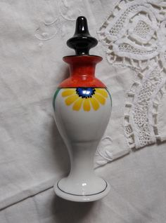 Art Deco, Victoria Czechoslovakia, hand-painted porcelain perfume bottle with flowers cca. Painted Porcelain, Hand Painted, 1930s, Perfume Bottles, Art Deco, Victoria, Flowers, Etsy, Perfume Bottle