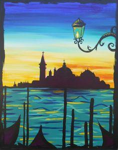 3 hour simple paintings Venice-at-Sundown Large