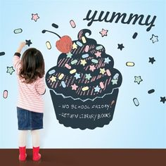 Yum! What a cute chalkboard cupcake for decorating the walls of a kids playroom or toddler bedroom!