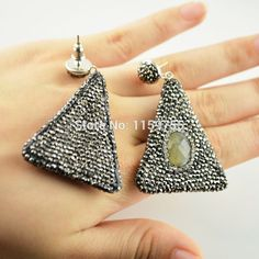 For Women 5Pair  Labradorite Dangle Earrings, with Crystal Rhinestone Paved Triangle Shape Gem Stone Druzy Earring