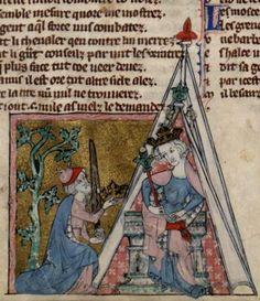 Roman de toute chevalerie, par Eustache ou Thomas de Kent. 1301 (f88) Medieval Manuscript, Medieval Art, Canopy Tent, Canopies, Illuminated Letters, Illuminated Manuscript, Bell Tent, Stalls, Gothic Art
