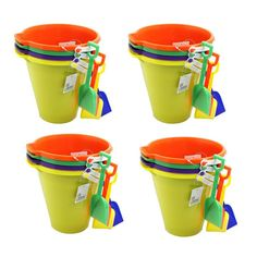 "Kids Assorted 9"" Sand Bucket Set 16 Pack with Shovels 
