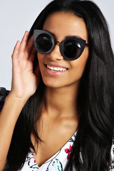 Annie Cat Eye Metal Sunglasses at boohoo.com
