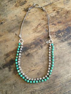 Turquoise Necklace Multi Strand Sterling by TwoSilverSisters $65.00