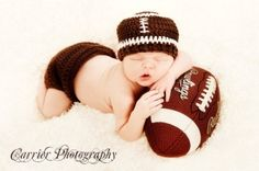 crochet Football baby Hat beanie diaper cover  set Size newborn 0 3 6 9 12 24 months classic or choose  team colors by bitofwhimsy