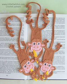 Ravelry: 029 Monkey bookmark amigurumi Ravelry pattern by LittleOwlsHut