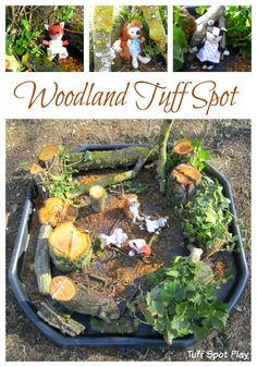 Create a small world using natural materials for woodland cr… Woodland Tuff Spot. Create a small world using natural materials for woodland cr…, Animal Activities For Kids, Eyfs Activities, Outside Activities, Autumn Activities, Children Activities, Outdoor Activities, Tuff Spot, Woodland Creatures, Woodland Animals