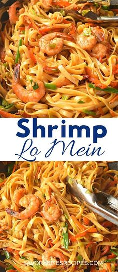 you love Chinese food takeout menu then this shrimp lo mein recipe is very easy to try next. The lo mein sauce is spicy ,quick to put together, which when mixed with veggies ,egg noodles and shrimp makes this amazing dinner dish under 30 mins! Shrimp Recipes For Dinner, Shrimp Pasta Recipes, Shrimp Dishes, Easy Appetizer Recipes, Seafood Recipes, Cooking Recipes, Pasta Food, Food Food, Asian Noodle Recipes