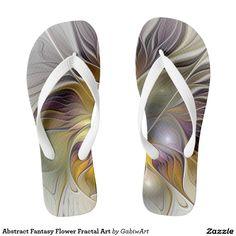 Abstract Fantasy Flower Fractal Art Flip Flops
