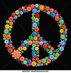 Stock Illustration of button peace sign - Search EPS Clipart, Drawings, Decorative Prints, Illustrations, and Vector Graphics Images - Paz Hippie, Hippie Peace, Hippie Love, Hippie Style, Happy Hippie, Button Art, Button Crafts, Peace Sign Art, Peace Signs