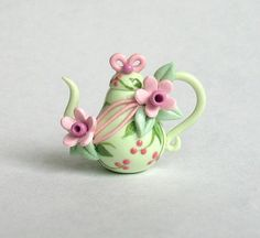 Miniature Lovely Pink Blossoms Teapot OOAK by C. Rohal: