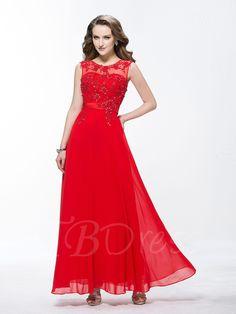 #TBDress - #TBDress A-Line Jewel Beading Appliques Ankle-Length Evening Dress - AdoreWe.com