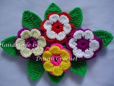 Crochet Flower and leaf patterns and photo tutorial
