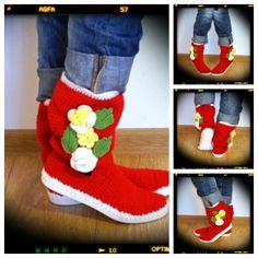 Crochet Stiefel Frühjahr-Herbst Stiefel Frauen han von Uki-Crafts auf DaWanda.com