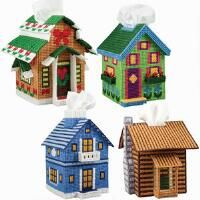 Craftways® Seasonal Cottages Tissue Box Covers Plastic Canvas Kit