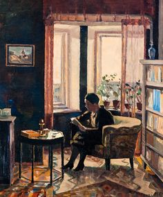 "huariqueje: "" Reading - Väinö Kamppuri , 1928 Finnish, 1891-1972 Oil on canvas 56x46 cm """
