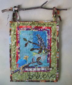I really like this mixed media piece, built on a base of fabric with wire words stitched down, love the quilted look - Art as Usual #mixed #media