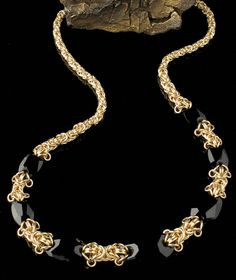 Dragon Eggz Graduated Necklace - chainmaille and crystals