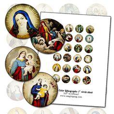 Antique Religious Catholic Color Prints 1 circle by magicpug